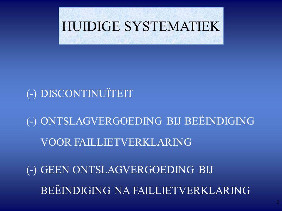 6 HUIDIGE SYSTEMATIEK (-)DISCONTINUÏTEIT (-)ONTSLAGVERGOEDING BIJ BEËINDIGING VOOR FAILLIETVERKLARING (-)GEEN ONTSLAGVERGOEDING BIJ BEËINDIGING NA FAILLIETVERKLARING