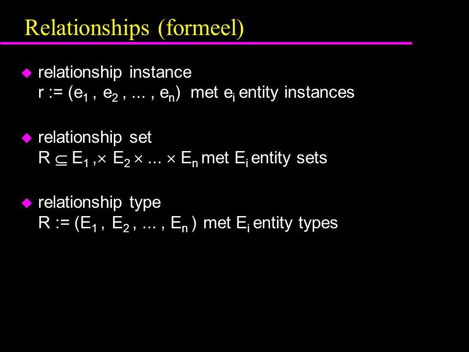 Relationships (formeel) u relationship instance r := (e 1, e 2,..., e n ) met e i entity instances u relationship set R  E 1,  E 2 ...  E n met E