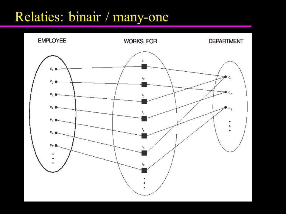 Relaties: binair / many-one