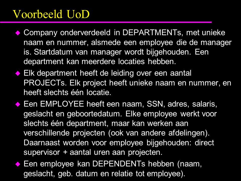 Voorbeeld UoD u Company onderverdeeld in DEPARTMENTs, met unieke naam en nummer, alsmede een employee die de manager is. Startdatum van manager wordt