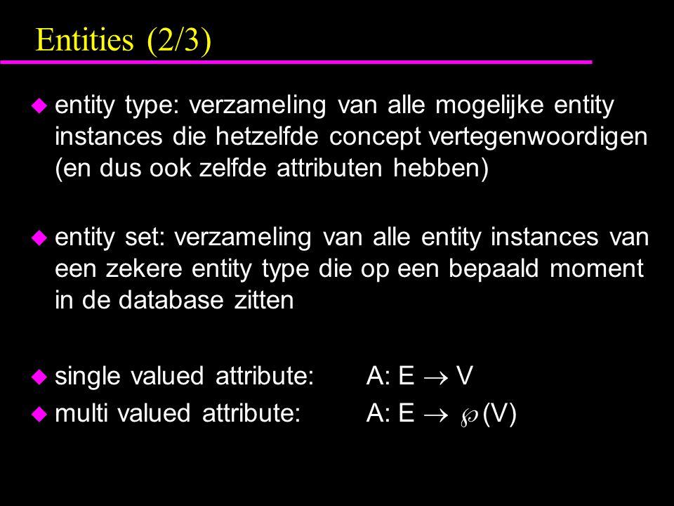 Entities (2/3) u entity type: verzameling van alle mogelijke entity instances die hetzelfde concept vertegenwoordigen (en dus ook zelfde attributen he