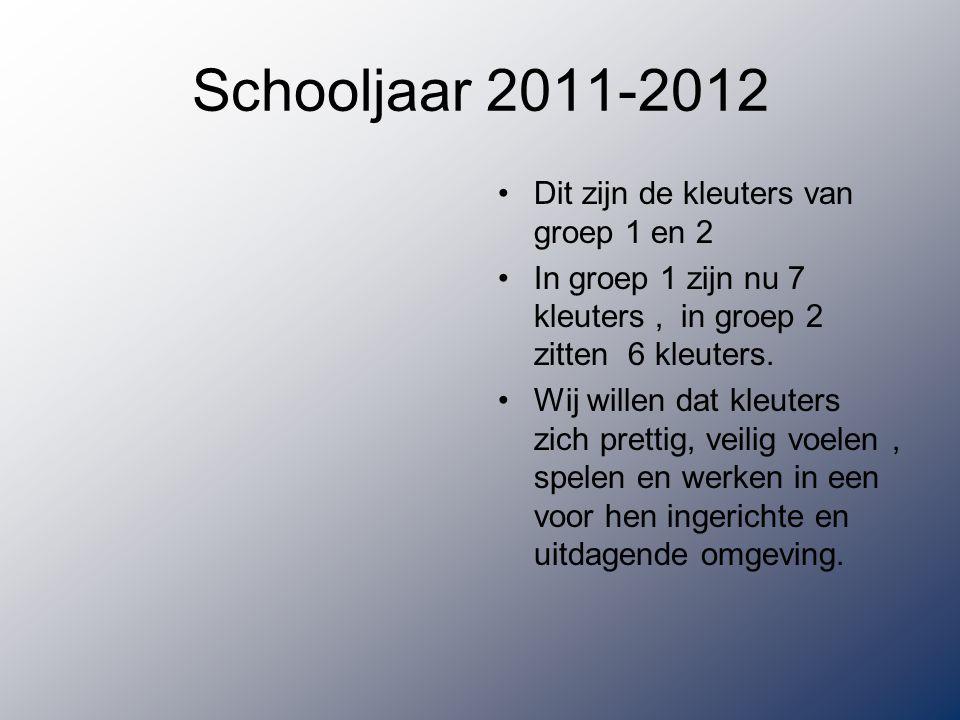 Schooljaar 2011-2012 Dit zijn de kleuters van groep 1 en 2 In groep 1 zijn nu 7 kleuters, in groep 2 zitten 6 kleuters.