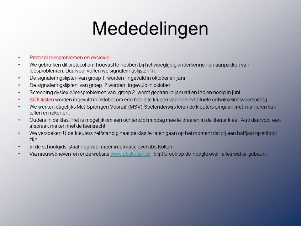 Mededelingen Protocol leesproblemen en dyslexie.