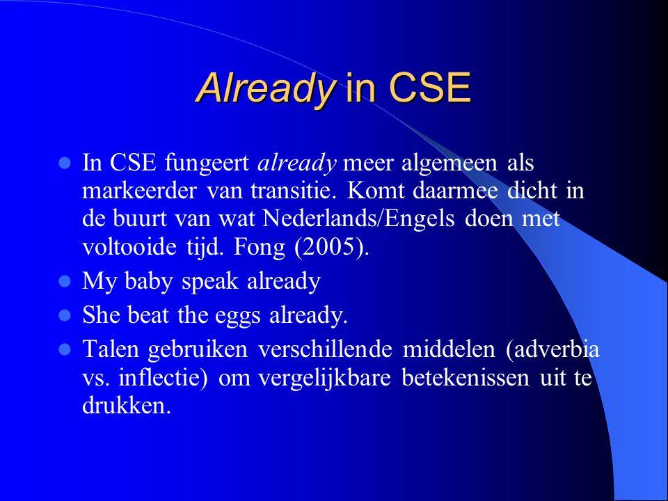 Already in CSE In CSE fungeert already meer algemeen als markeerder van transitie.