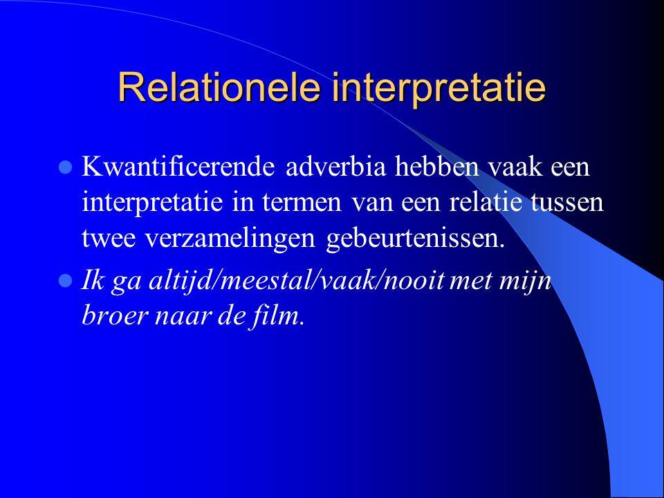 Relationele interpretatie Kwantificerende adverbia hebben vaak een interpretatie in termen van een relatie tussen twee verzamelingen gebeurtenissen.