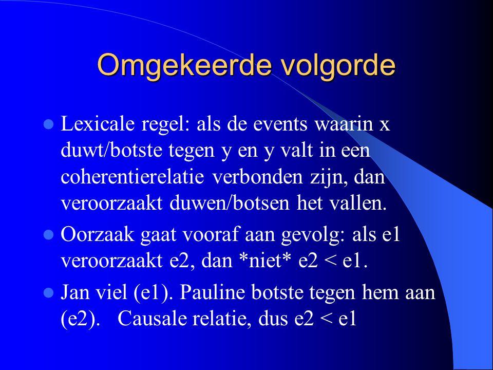 Omgekeerde volgorde Lexicale regel: als de events waarin x duwt/botste tegen y en y valt in een coherentierelatie verbonden zijn, dan veroorzaakt duwen/botsen het vallen.