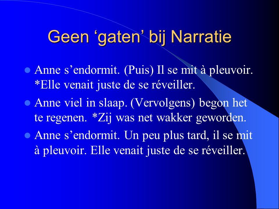 Geen 'gaten' bij Narratie Anne s'endormit. (Puis) Il se mit à pleuvoir.