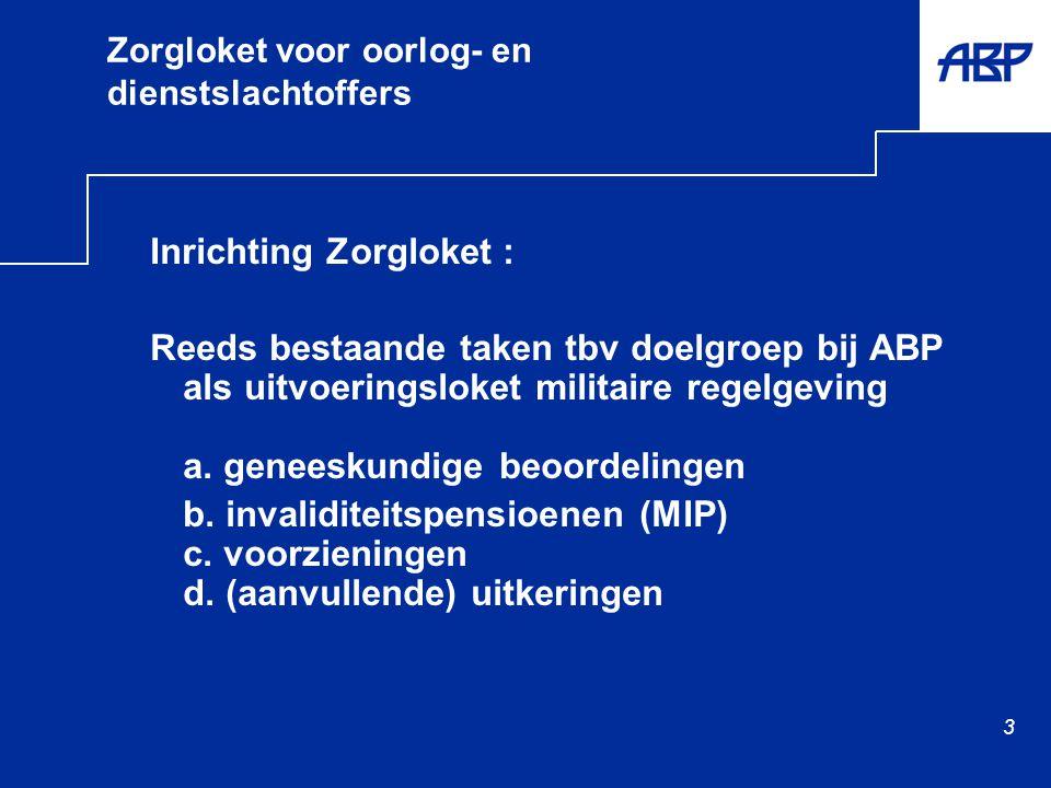3 Zorgloket voor oorlog- en dienstslachtoffers Inrichting Zorgloket : Reeds bestaande taken tbv doelgroep bij ABP als uitvoeringsloket militaire regelgeving a.