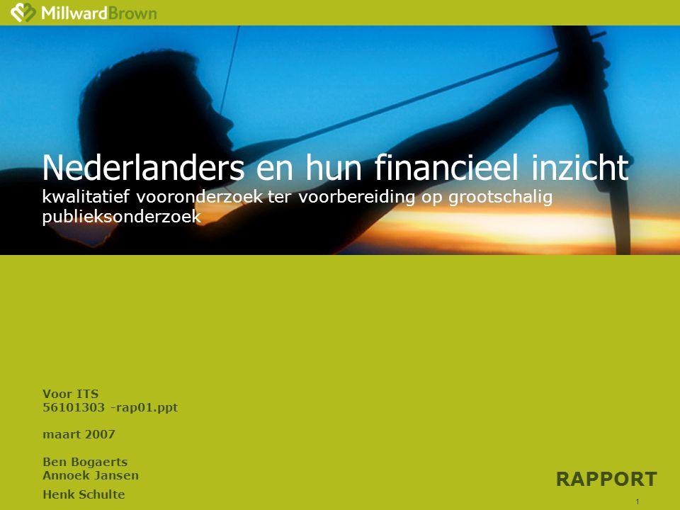 1 Nederlanders en hun financieel inzicht kwalitatief vooronderzoek ter voorbereiding op grootschalig publieksonderzoek Voor ITS 56101303-rap01.ppt maart 2007 Ben Bogaerts Annoek Jansen Henk Schulte RAPPORT