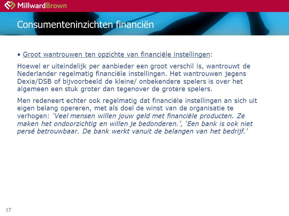 17 Consumenteninzichten financiën Groot wantrouwen ten opzichte van financiële instellingen: Hoewel er uiteindelijk per aanbieder een groot verschil is, wantrouwt de Nederlander regelmatig financiële instellingen.