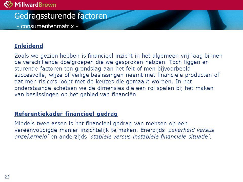 22 Gedragssturende factoren - consumentenmatrix - Inleidend Zoals we gezien hebben is financieel inzicht in het algemeen vrij laag binnen de verschillende doelgroepen die we gesproken hebben.