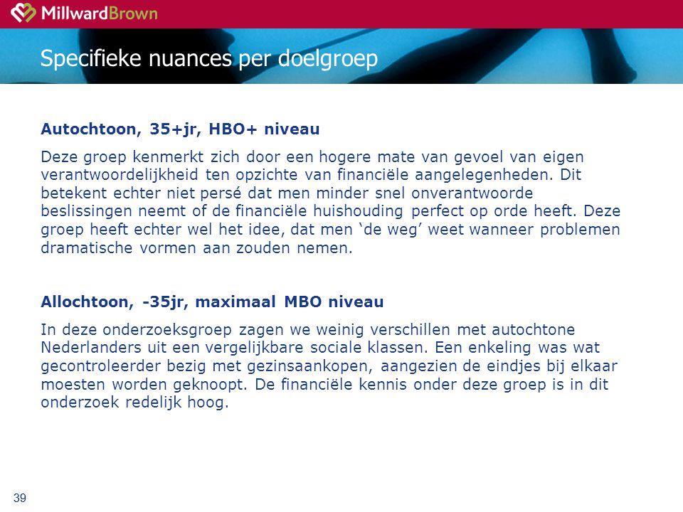 39 Specifieke nuances per doelgroep Autochtoon, 35+jr, HBO+ niveau Deze groep kenmerkt zich door een hogere mate van gevoel van eigen verantwoordelijkheid ten opzichte van financiële aangelegenheden.