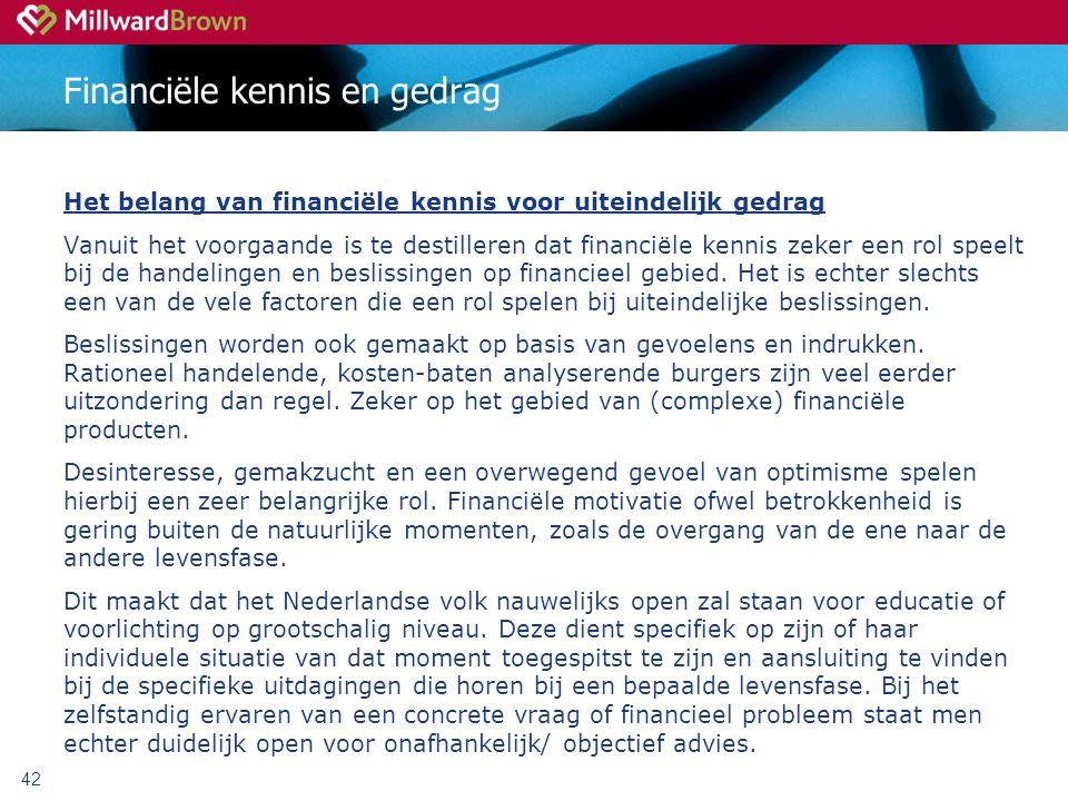42 Financiële kennis en gedrag Het belang van financiële kennis voor uiteindelijk gedrag Vanuit het voorgaande is te destilleren dat financiële kennis zeker een rol speelt bij de handelingen en beslissingen op financieel gebied.