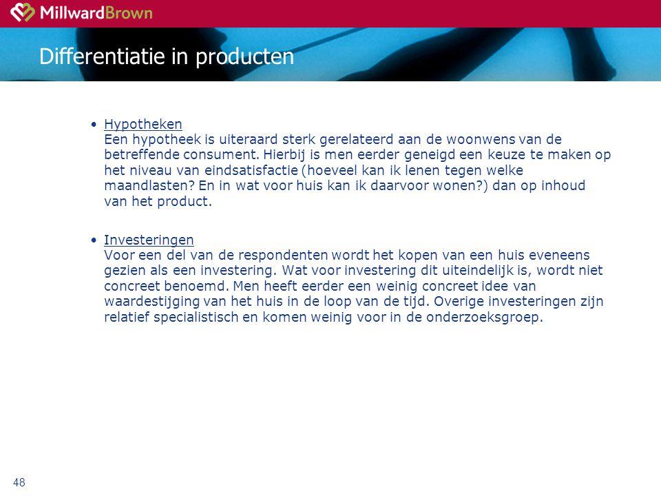 48 Differentiatie in producten Hypotheken Een hypotheek is uiteraard sterk gerelateerd aan de woonwens van de betreffende consument.