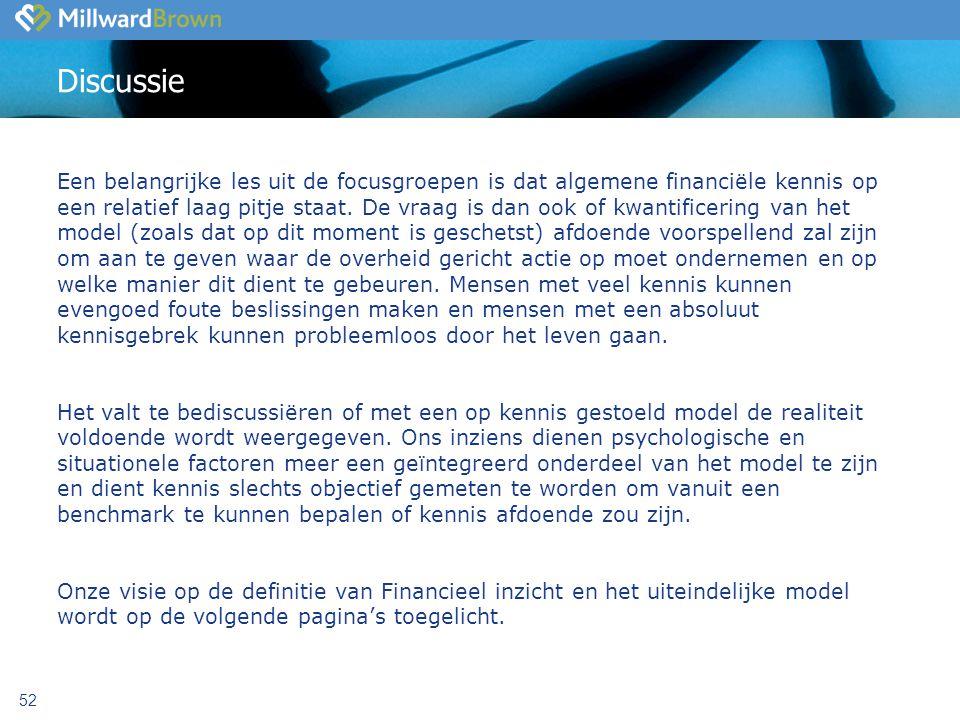 52 Discussie Een belangrijke les uit de focusgroepen is dat algemene financiële kennis op een relatief laag pitje staat.