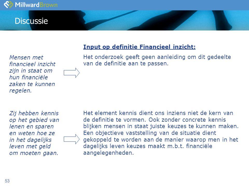 53 Discussie Input op definitie Financieel inzicht: Het onderzoek geeft geen aanleiding om dit gedeelte van de definitie aan te passen.