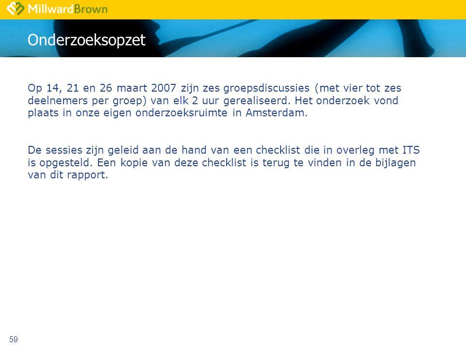 59 Onderzoeksopzet Op 14, 21 en 26 maart 2007 zijn zes groepsdiscussies (met vier tot zes deelnemers per groep) van elk 2 uur gerealiseerd.