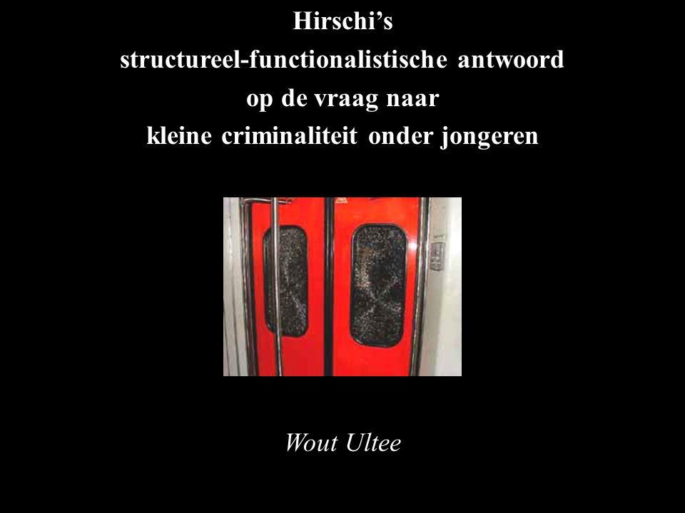 Hirschi's structureel-functionalistische antwoord op de vraag naar kleine criminaliteit onder jongeren Wout Ultee