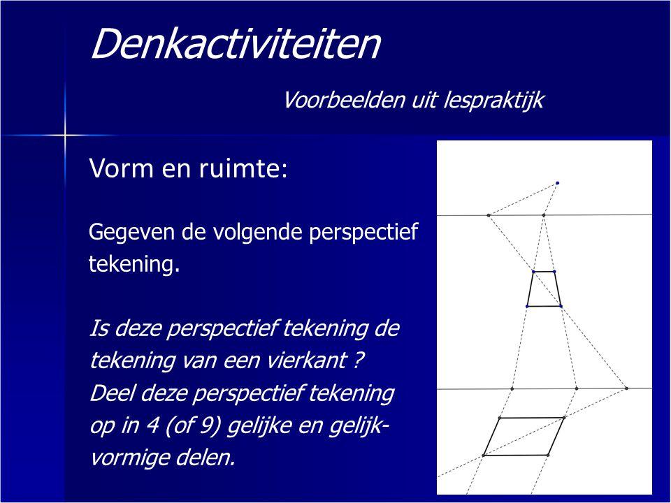 Denkactiviteiten Voorbeelden uit lespraktijk Vorm en ruimte: Gegeven de volgende perspectief tekening. Is deze perspectief tekening de tekening van ee