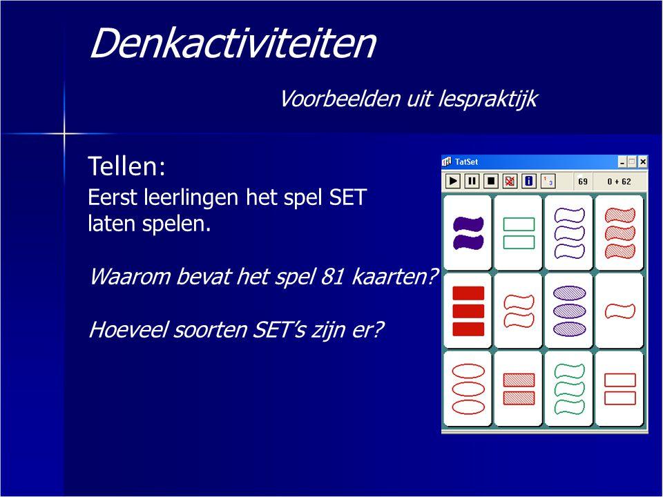 Denkactiviteiten Voorbeelden uit lespraktijk Tellen: Eerst leerlingen het spel SET laten spelen. Waarom bevat het spel 81 kaarten? Hoeveel soorten SET