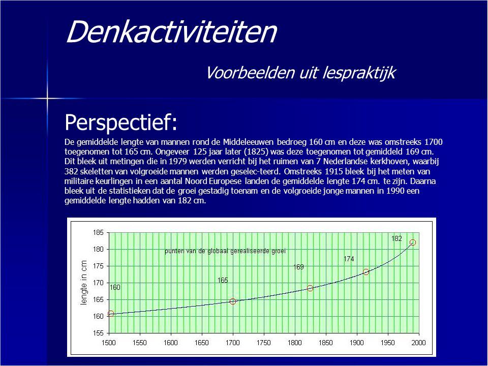 Denkactiviteiten Voorbeelden uit lespraktijk Perspectief: De gemiddelde lengte van mannen rond de Middeleeuwen bedroeg 160 cm en deze was omstreeks 17