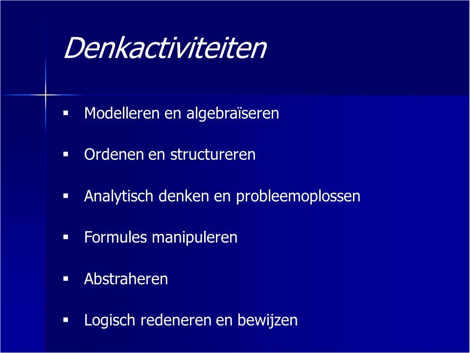 Denkactiviteiten  Modelleren en algebraïseren  Ordenen en structureren  Analytisch denken en probleemoplossen  Formules manipuleren  Abstraheren