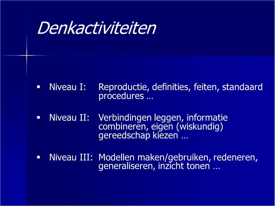  Niveau I:Reproductie, definities, feiten, standaard procedures …  Niveau II:Verbindingen leggen, informatie combineren, eigen (wiskundig) gereedsch