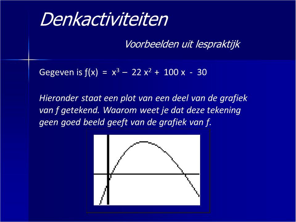 Denkactiviteiten Voorbeelden uit lespraktijk Gegeven is ƒ(x) = x 3 – 22 x 2 + 100 x - 30 Hieronder staat een plot van een deel van de grafiek van ƒ ge