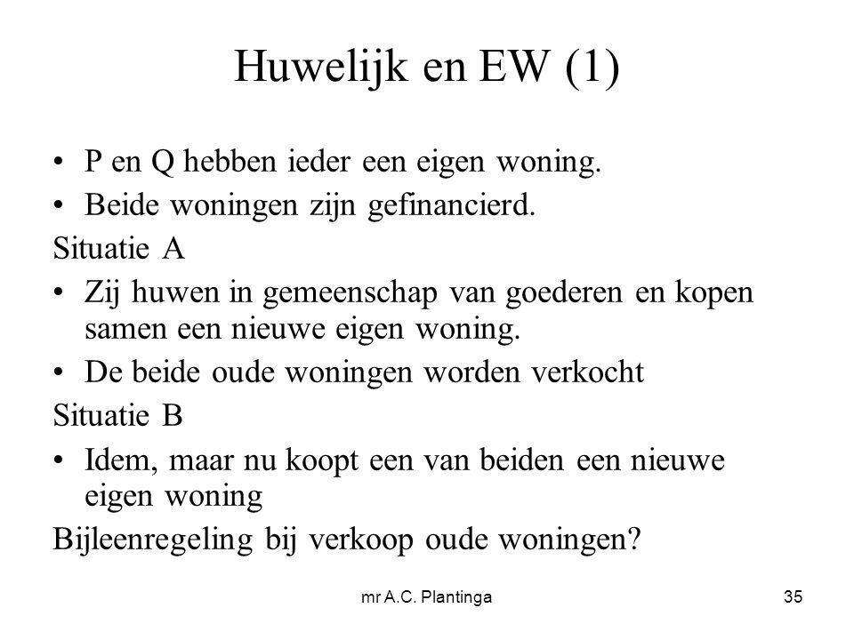 mr A.C. Plantinga35 Huwelijk en EW (1) P en Q hebben ieder een eigen woning.
