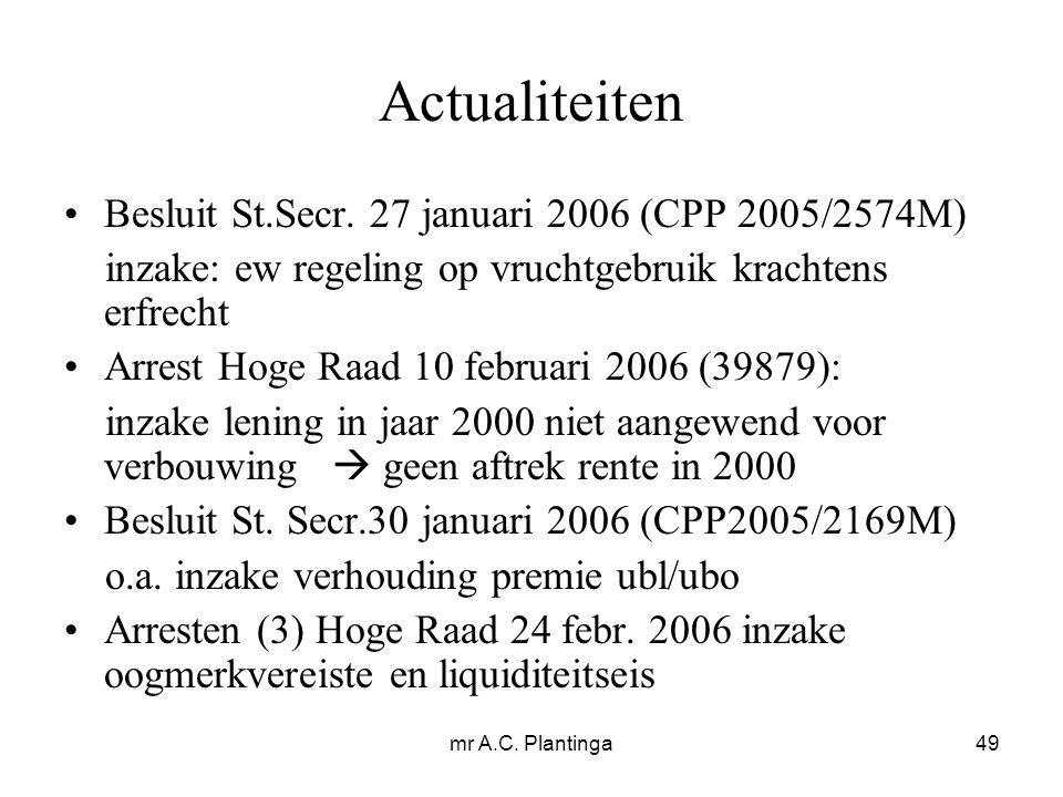 mr A.C. Plantinga49 Actualiteiten Besluit St.Secr.