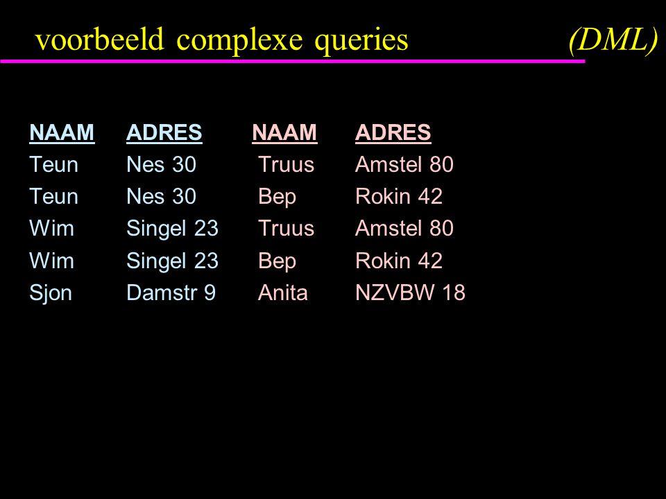 voorbeeld complexe queries(DML) NAAM ADRESNAAMADRES Teun Nes 30 TruusAmstel 80 Teun Nes 30 BepRokin 42 WimSingel 23 TruusAmstel 80 WimSingel 23 BepRokin 42 SjonDamstr 9 AnitaNZVBW 18