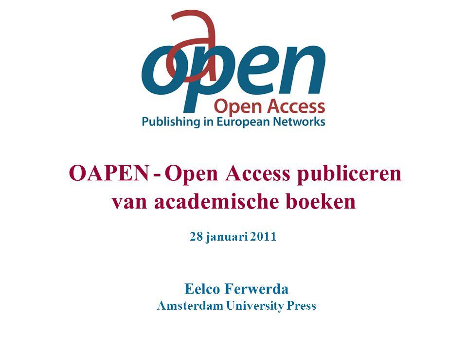 OA boeken: samenwerking Uitgevers: Organiseren peer- review Bieden diensten voor OA uitgeven gebaseerd op kostencalculatie Publiceren en verkopen andere edities Delen de opbrengsten met de finaniciers.