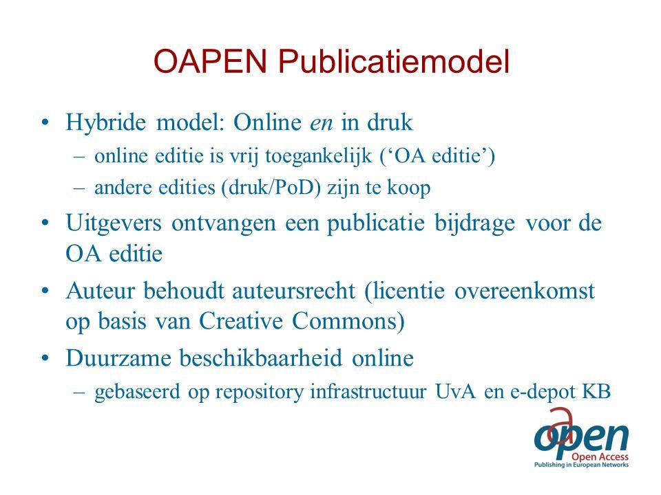 OAPEN Publicatiemodel Hybride model: Online en in druk –online editie is vrij toegankelijk ('OA editie') –andere edities (druk/PoD) zijn te koop Uitge