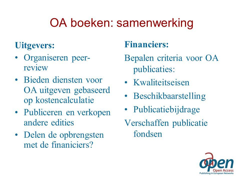 OA boeken: samenwerking Uitgevers: Organiseren peer- review Bieden diensten voor OA uitgeven gebaseerd op kostencalculatie Publiceren en verkopen ande