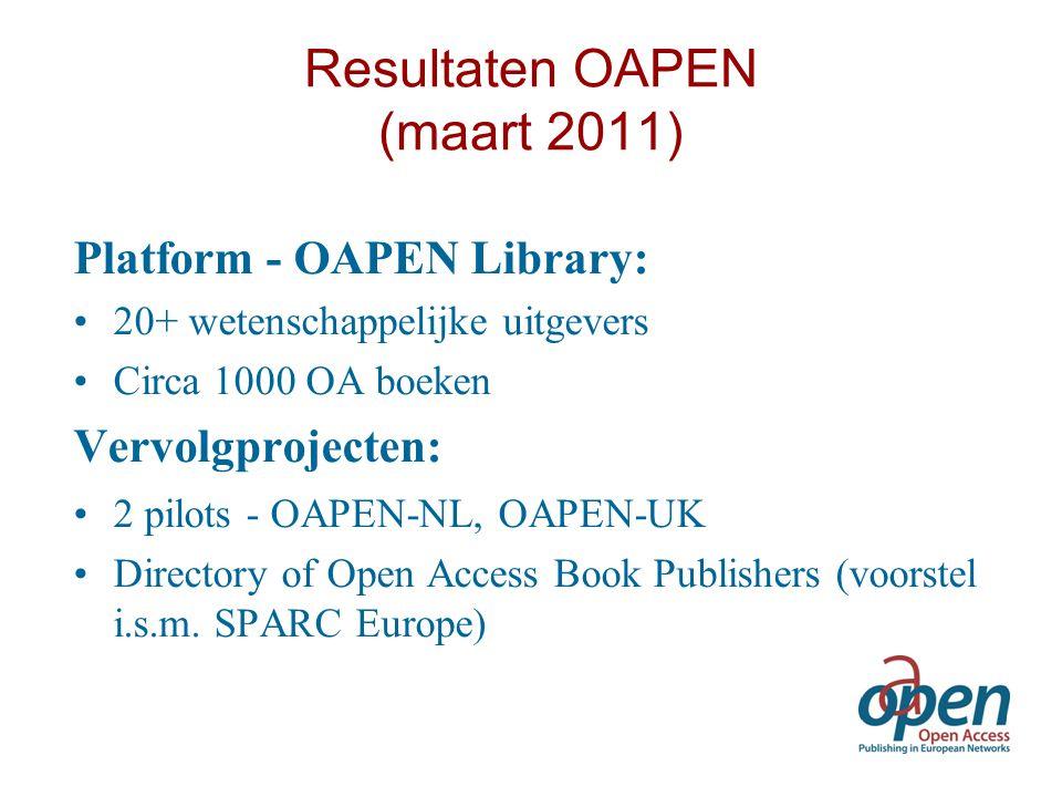 Resultaten OAPEN (maart 2011) Platform - OAPEN Library: 20+ wetenschappelijke uitgevers Circa 1000 OA boeken Vervolgprojecten: 2 pilots - OAPEN-NL, OA