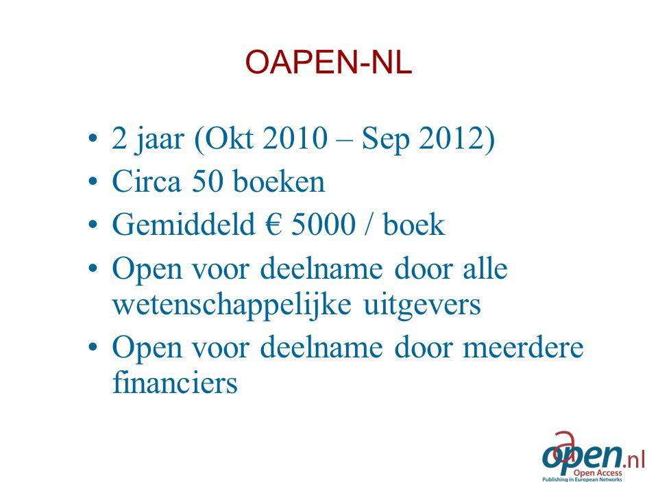 OAPEN-NL 2 jaar (Okt 2010 – Sep 2012) Circa 50 boeken Gemiddeld € 5000 / boek Open voor deelname door alle wetenschappelijke uitgevers Open voor deeln