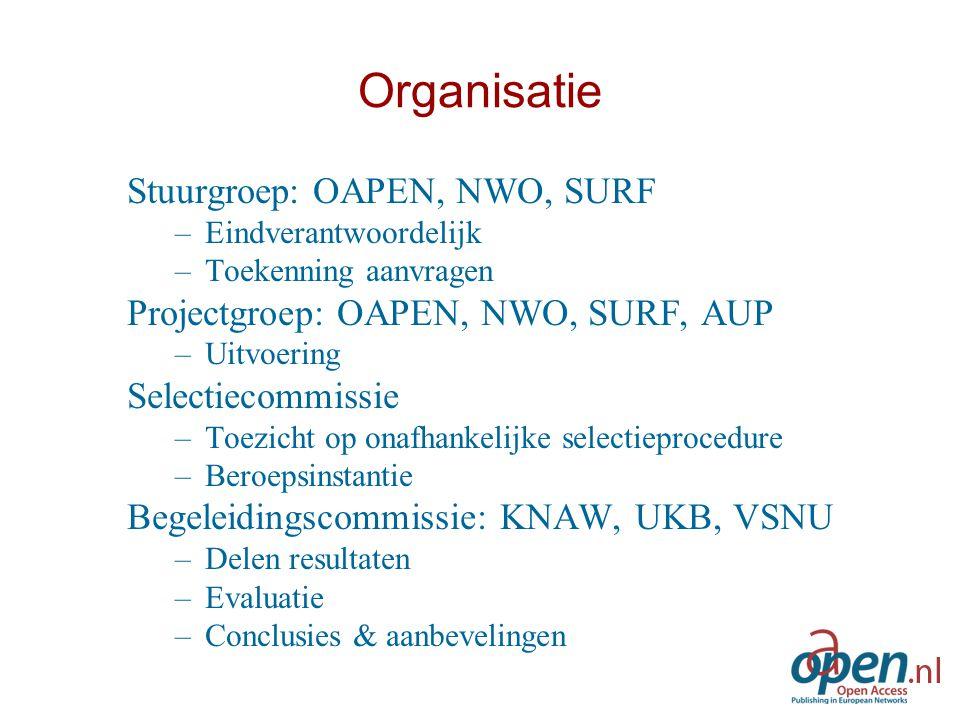 Organisatie Stuurgroep: OAPEN, NWO, SURF –Eindverantwoordelijk –Toekenning aanvragen Projectgroep: OAPEN, NWO, SURF, AUP –Uitvoering Selectiecommissie
