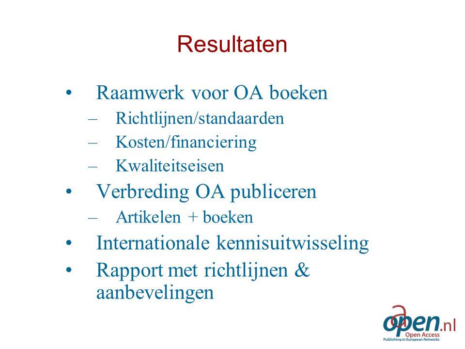 Resultaten Raamwerk voor OA boeken –Richtlijnen/standaarden –Kosten/financiering –Kwaliteitseisen Verbreding OA publiceren –Artikelen + boeken Interna