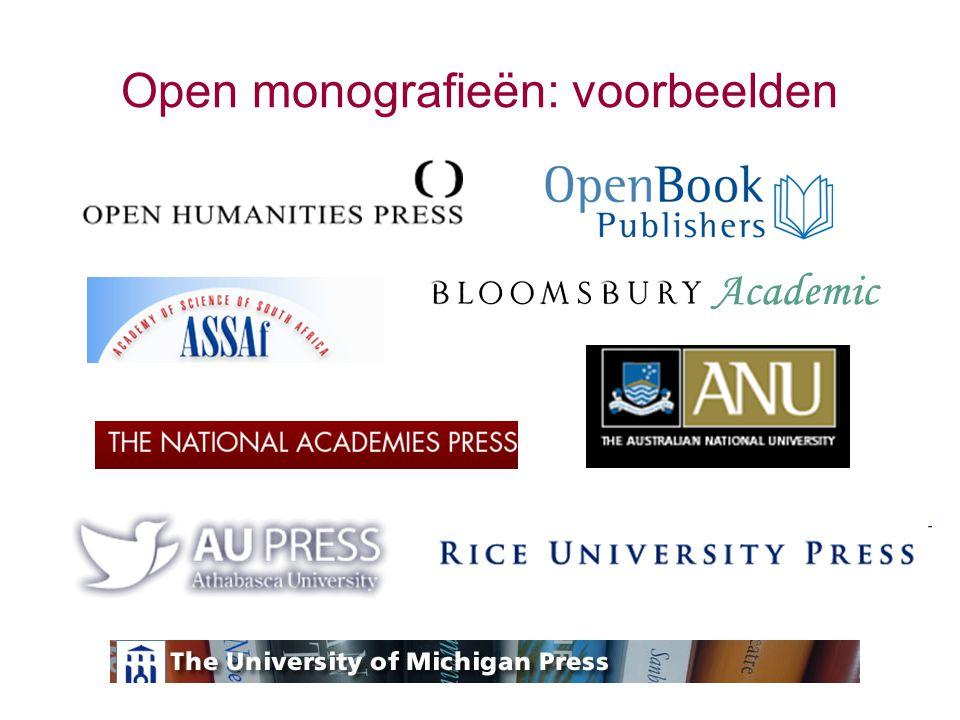 Open monografieën: voorbeelden