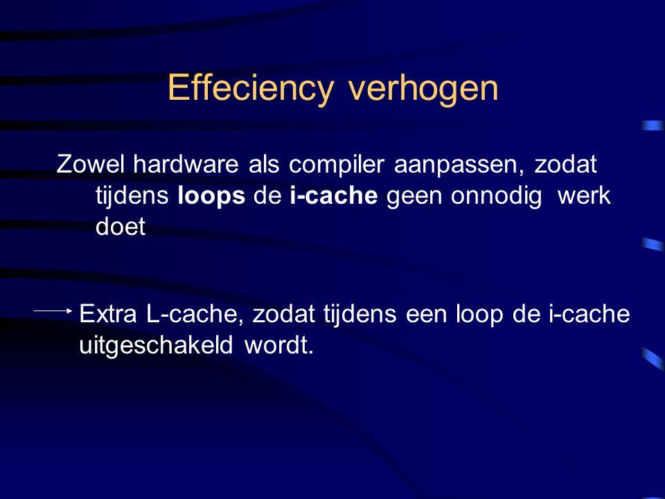 Effeciency verhogen Zowel hardware als compiler aanpassen, zodat tijdens loops de i-cache geen onnodig werk doet Extra L-cache, zodat tijdens een loop de i-cache uitgeschakeld wordt.