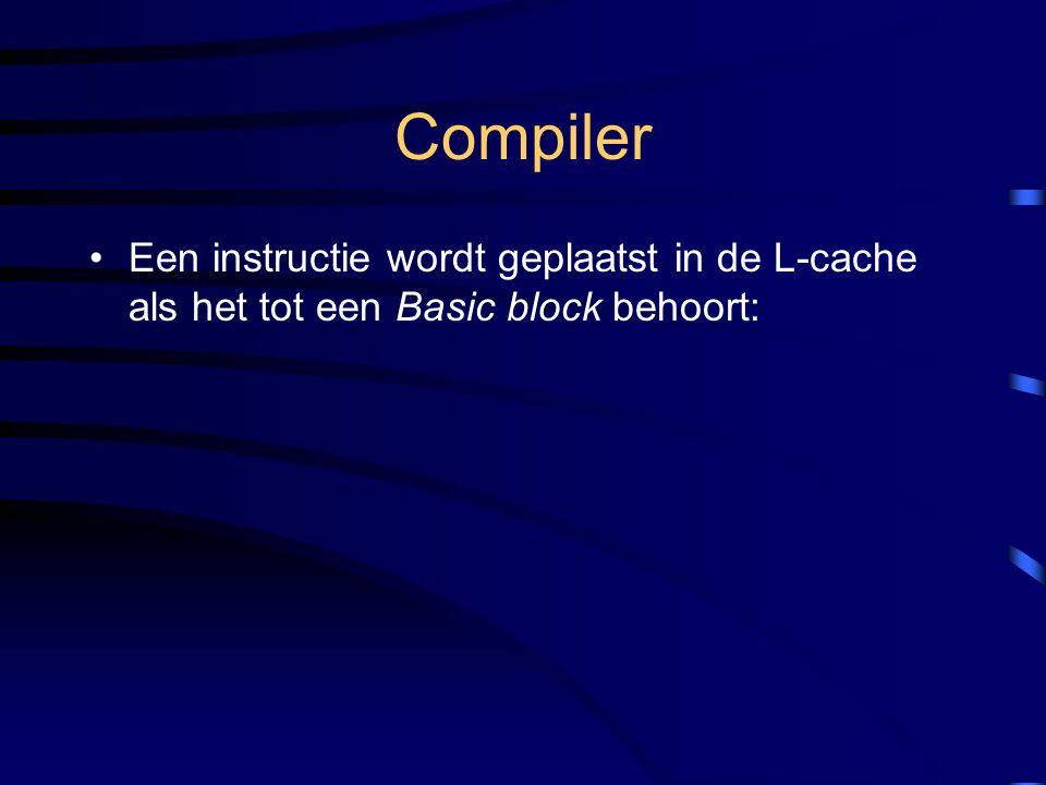 Een instructie wordt geplaatst in de L-cache als het tot een Basic block behoort: