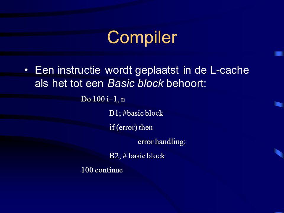 Compiler Een instructie wordt geplaatst in de L-cache als het tot een Basic block behoort: Do 100 i=1, n B1; #basic block if (error) then error handling; B2; # basic block 100 continue