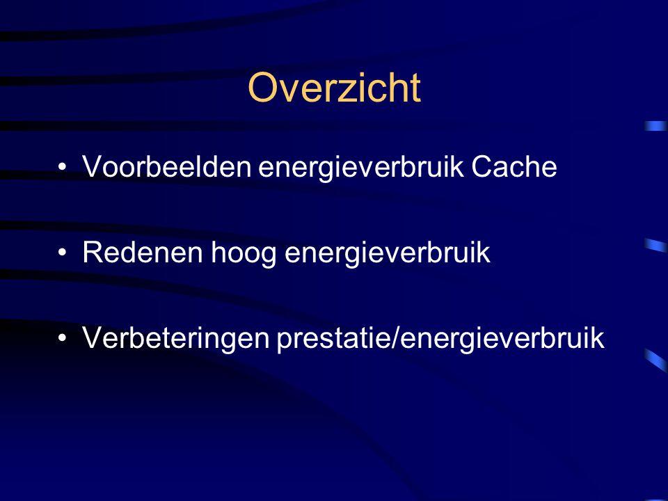 Overzicht Voorbeelden energieverbruik Cache Redenen hoog energieverbruik Verbeteringen prestatie/energieverbruik