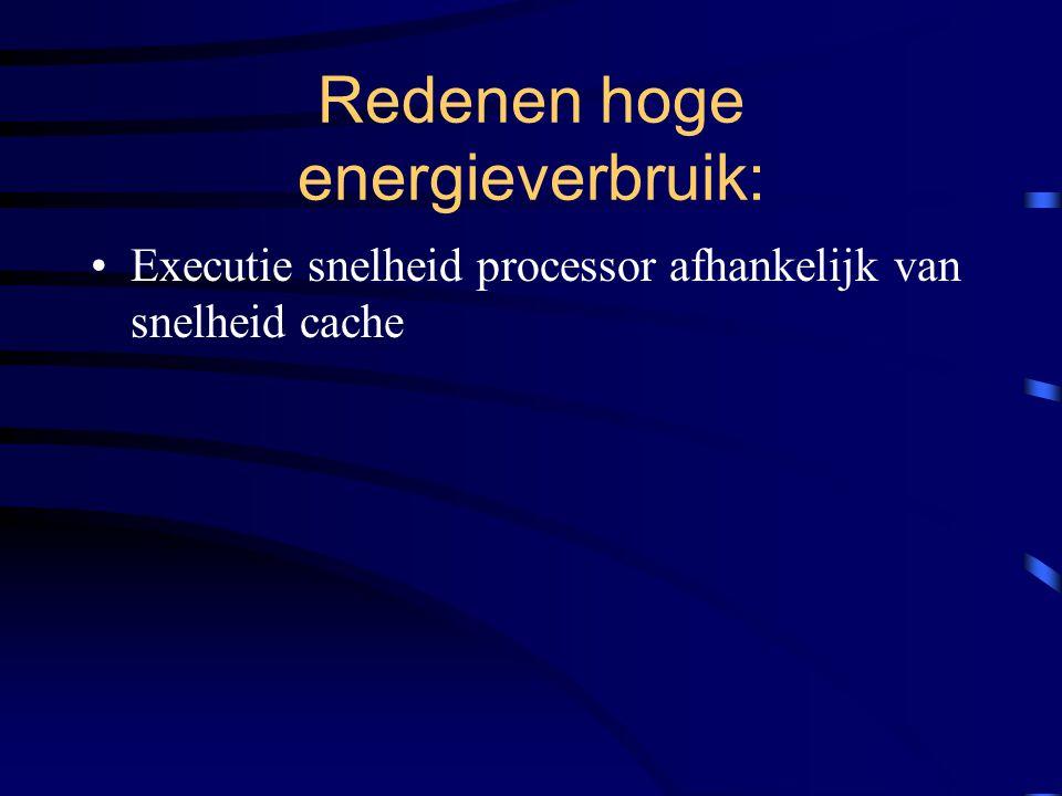Redenen hoge energieverbruik: Executie snelheid processor afhankelijk van snelheid cache Beslaat een groot deel van het chipoppervlak