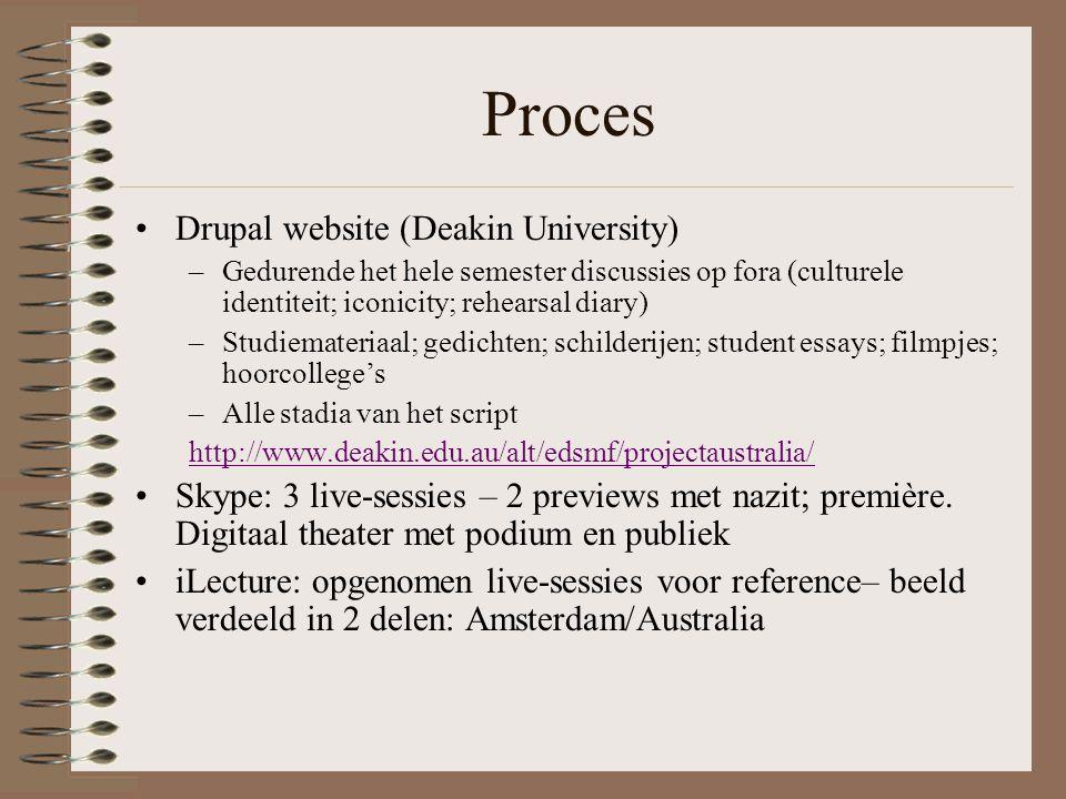 Proces Drupal website (Deakin University) –Gedurende het hele semester discussies op fora (culturele identiteit; iconicity; rehearsal diary) –Studiemateriaal; gedichten; schilderijen; student essays; filmpjes; hoorcollege's –Alle stadia van het script http://www.deakin.edu.au/alt/edsmf/projectaustralia/ Skype: 3 live-sessies – 2 previews met nazit; première.