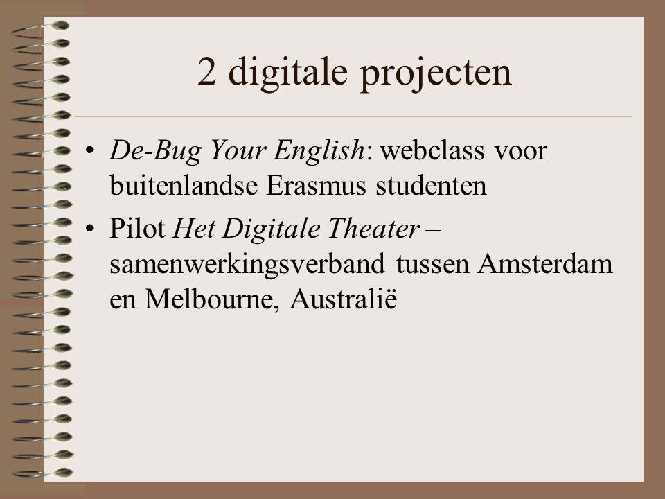2 digitale projecten De-Bug Your English: webclass voor buitenlandse Erasmus studenten Pilot Het Digitale Theater – samenwerkingsverband tussen Amsterdam en Melbourne, Australië