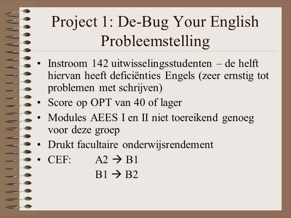 Project 1: De-Bug Your English Probleemstelling Instroom 142 uitwisselingsstudenten – de helft hiervan heeft deficiënties Engels (zeer ernstig tot problemen met schrijven) Score op OPT van 40 of lager Modules AEES I en II niet toereikend genoeg voor deze groep Drukt facultaire onderwijsrendement CEF: A2  B1 B1  B2