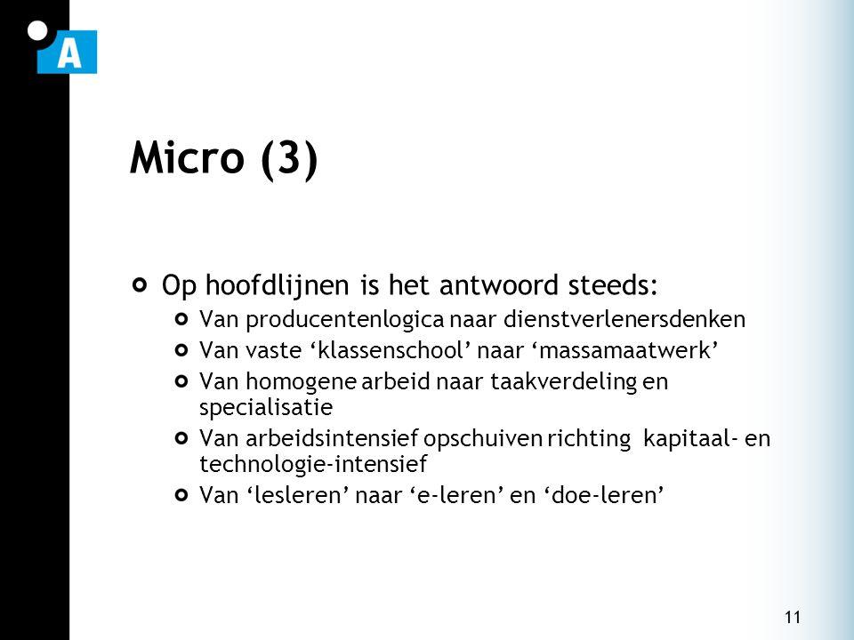 11 Micro (3) Op hoofdlijnen is het antwoord steeds: Van producentenlogica naar dienstverlenersdenken Van vaste 'klassenschool' naar 'massamaatwerk' Va