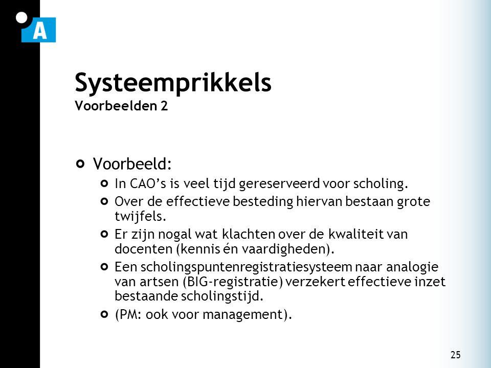25 Systeemprikkels Voorbeelden 2 Voorbeeld: In CAO's is veel tijd gereserveerd voor scholing. Over de effectieve besteding hiervan bestaan grote twijf