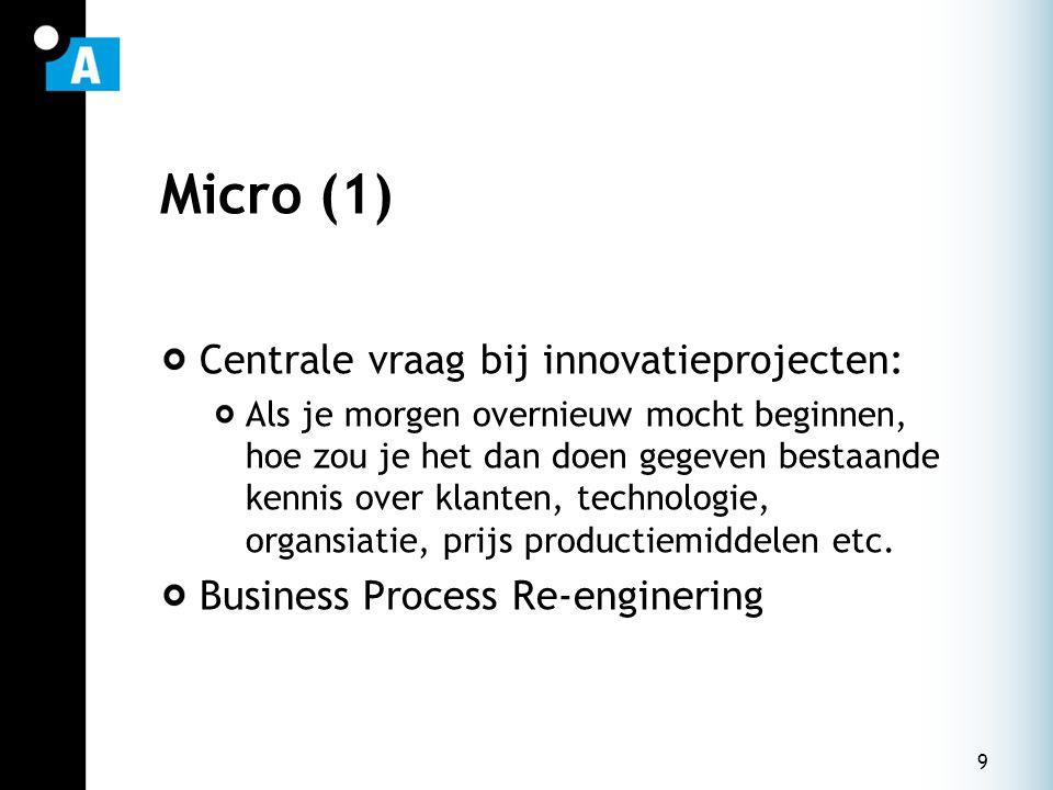 9 Micro (1) Centrale vraag bij innovatieprojecten: Als je morgen overnieuw mocht beginnen, hoe zou je het dan doen gegeven bestaande kennis over klanten, technologie, organsiatie, prijs productiemiddelen etc.